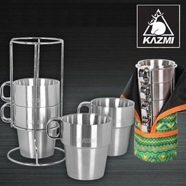 【【蘋果戶外】】KAZMI K3T3K044GN 不鏽鋼雙層馬克杯4入組 綠色 登山/戶外/啤酒杯/飲料杯/附收納袋