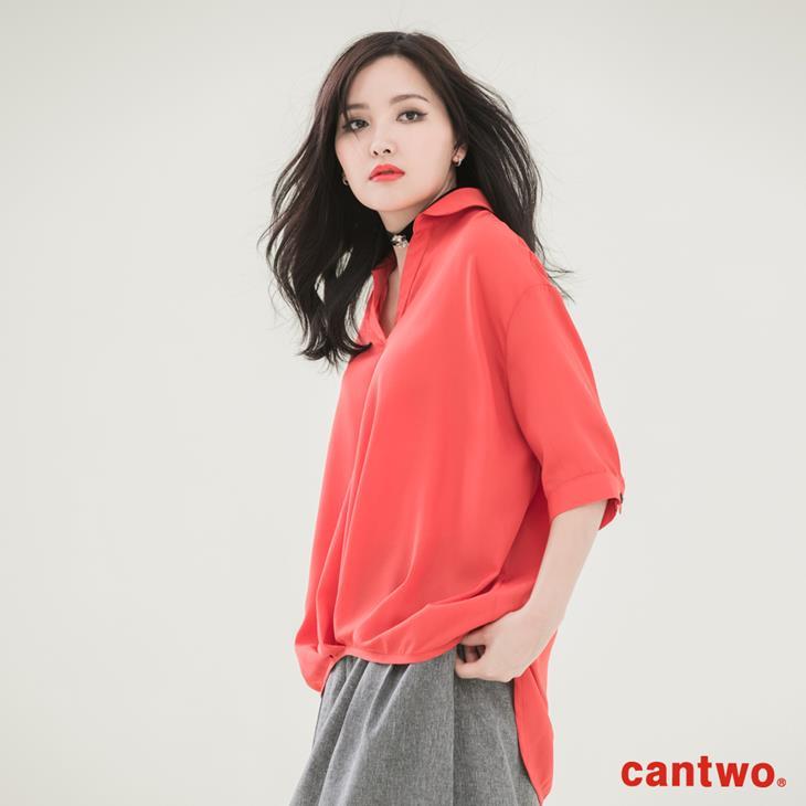 cantwo弧襬五分袖雪紡襯衫(共三色) 2