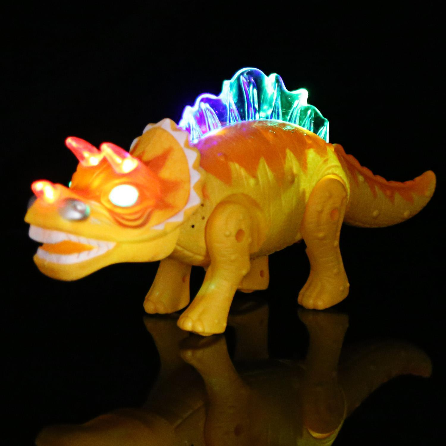 Battery Powered Triceratops Dinosaur Toy Realistic with Sounds Fun Lights Walks and Roars 3