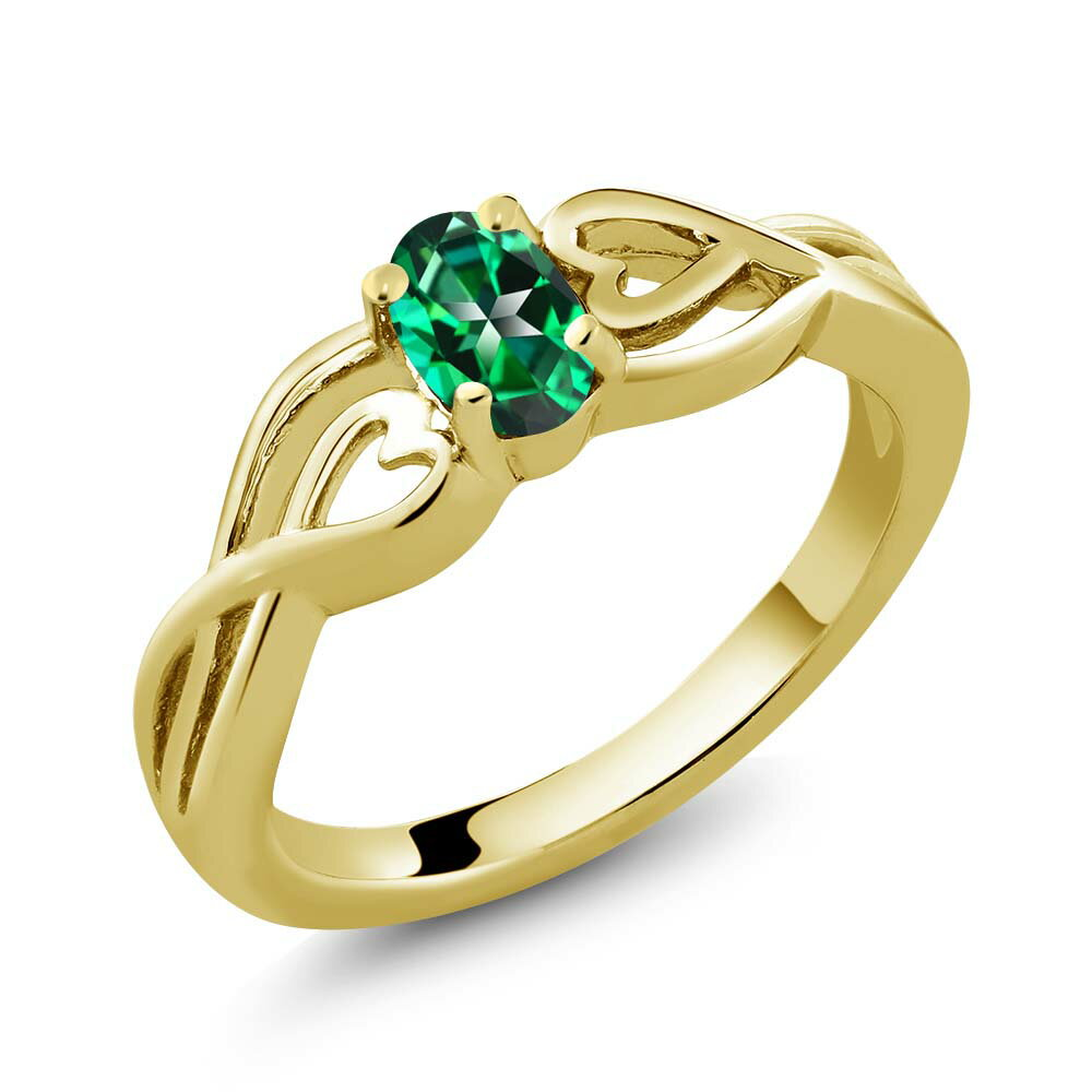 18K Yellow Gold Plated Silver Solitaire Ring Set with Rainforest Topaz from Swarovski 0