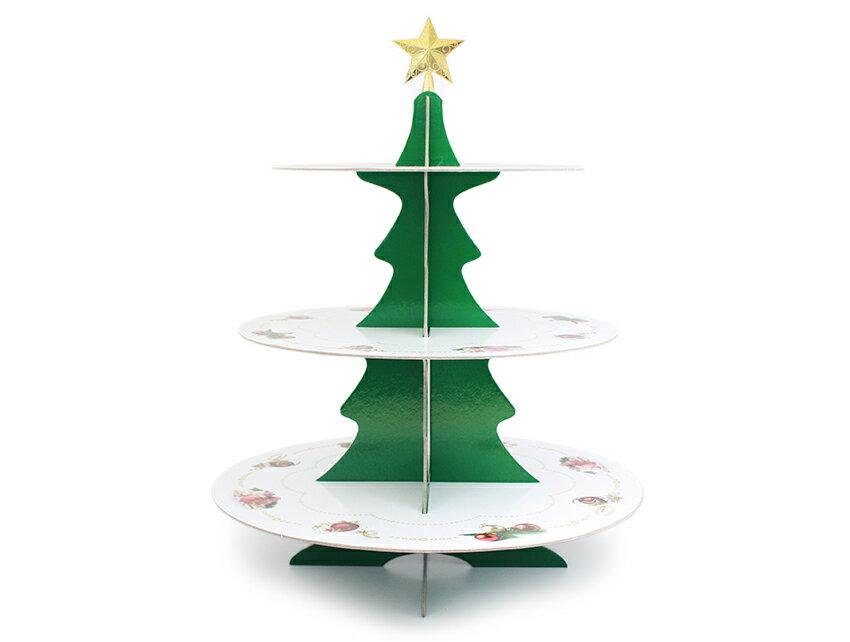 【嚴選SHOP】聖誕樹蛋糕座 派對架 三層蛋糕喜糖座 置物架 下午茶蛋糕座 蛋糕架 聖誕節派對架 聖誕包材【C132】
