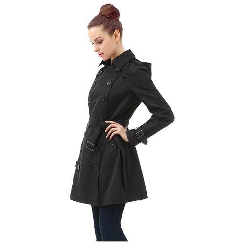 "BGSD Women's ""Leah"" Hooded Mid Length Trench Coat 0"