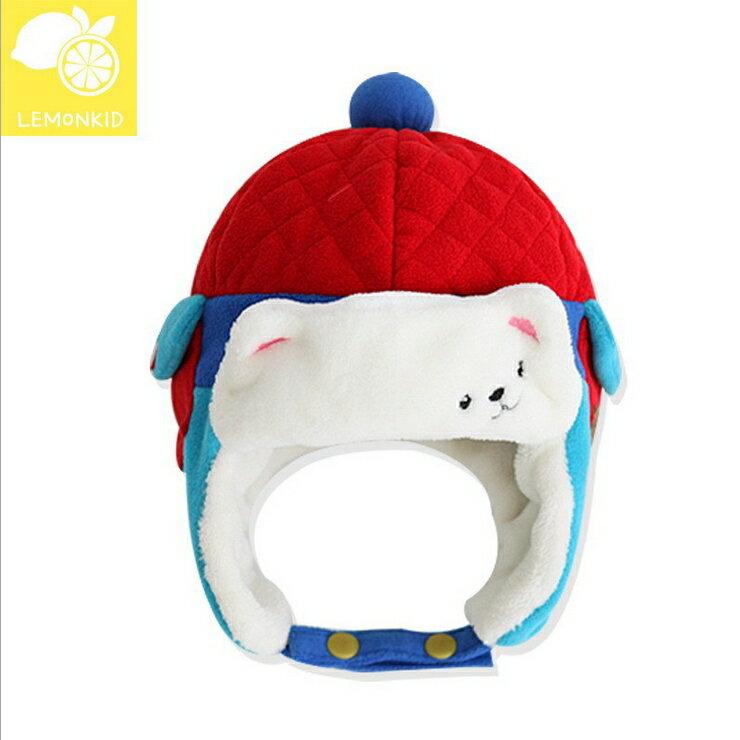 Lemonkid?秋冬超萌可愛北極熊菱格設計保暖造型兒童雷鋒護耳帽-紅色