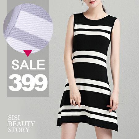 SISI【D6169】氣質優雅百搭質感圓領條紋無袖背心針織冰絲連身A字裙洋裝