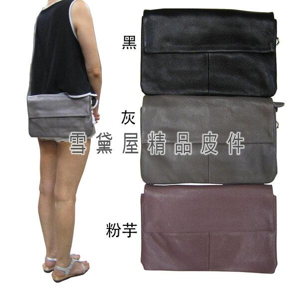 ~雪黛屋~ITALIDUCK手拿肩斜背小容量三層主袋台灣製扁包100%進口軟質牛皮革+棉質內裡布ID7041