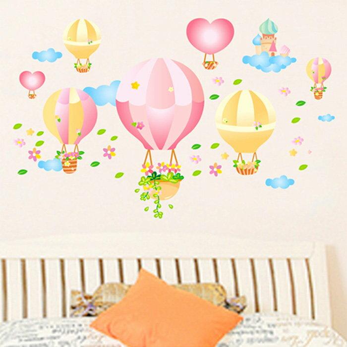 新款壁貼 熱氣球 創意可重覆貼壁貼 牆貼 背景貼 時尚組合壁貼【YV8003】快樂生活網