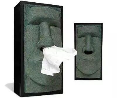 創意居家面紙盒MoaiTissuebox復活節石人像面紙盒流鼻涕衛生紙衛生紙盒摩艾紙巾抽交換禮物