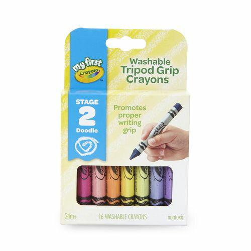 美國crayola繪兒樂幼兒可水洗三角筆桿蠟筆16色★衛立兒生活館★