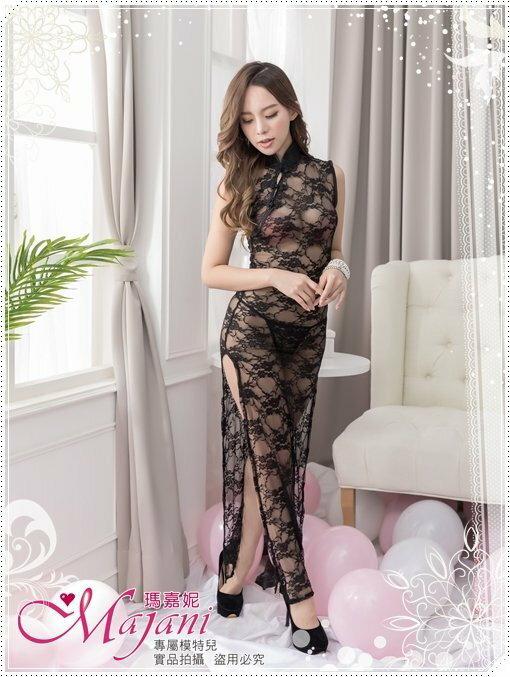 [瑪嘉妮Majani]真正中大尺碼- 極致性感 黑色蕾絲旗袍 XL~6XL 特價490元送丁字褲 sc-081