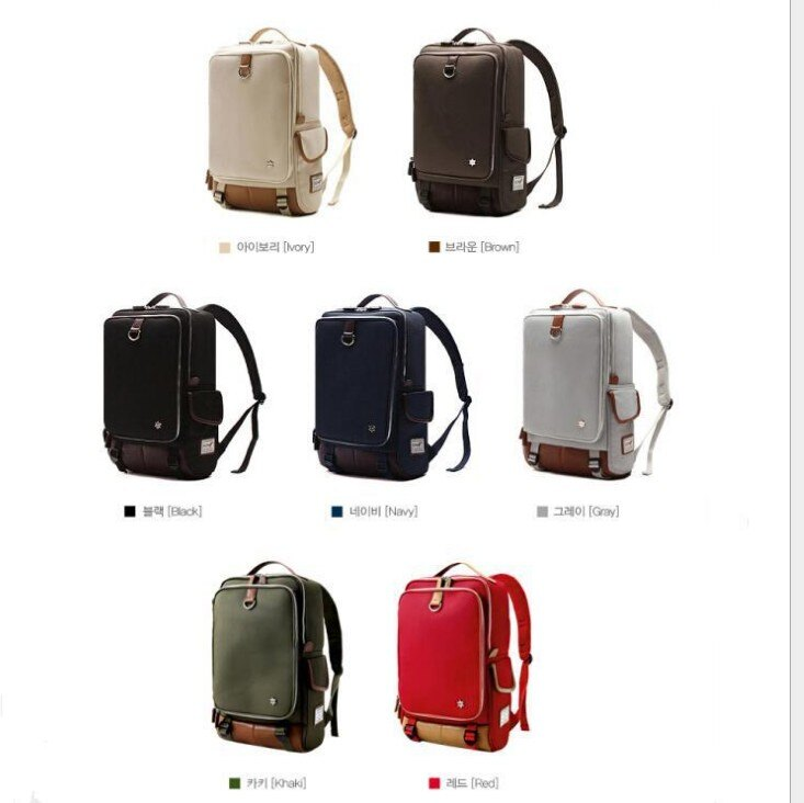 韓國代購 高品質 簡約男性公事14.15吋筆電雙背包 經典包 5