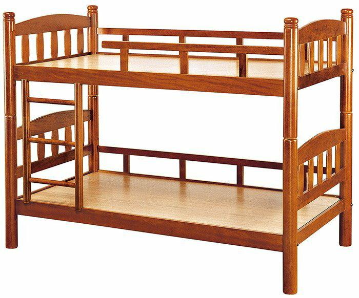 【尚品家具】HY-A196-02 柚木色3.5尺圓柱雙層床