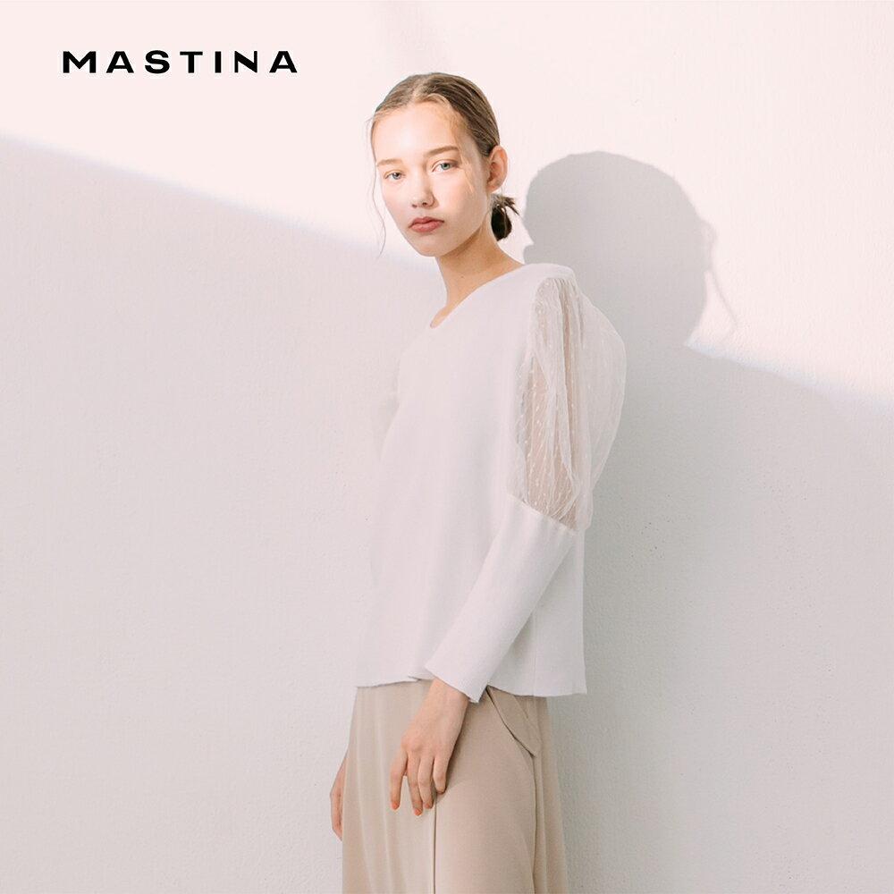 【齊心抗疫零接觸】超值折扣+滿999免運【MASTINA】質感清透薄紗衣袖-針織衫(二色/版型適中/魅力商品)