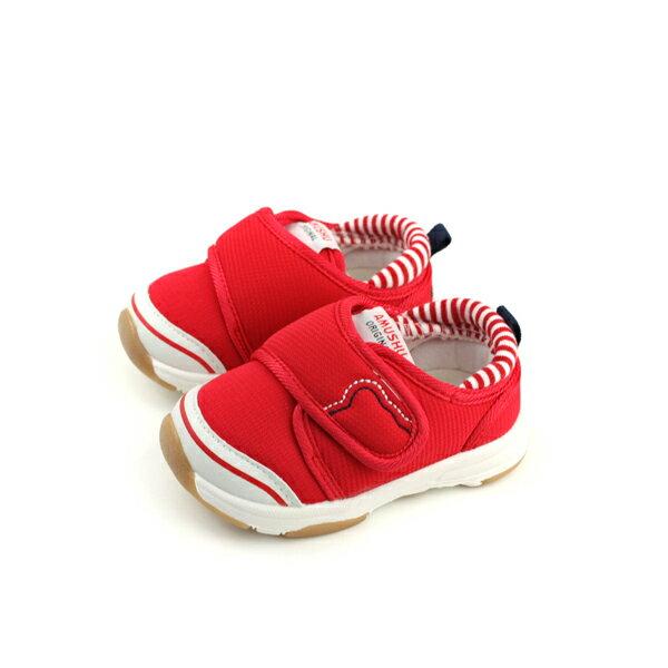 小男生鞋休閒鞋布鞋童鞋魔鬼氈紅色小童X1707no016