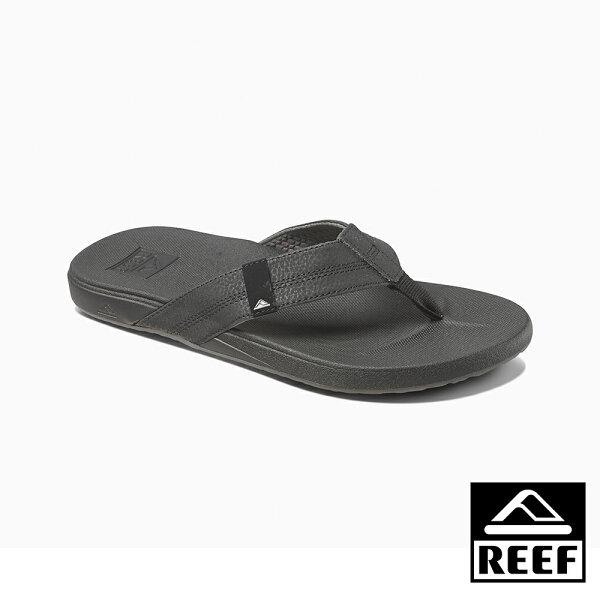 【新品9折↘】REEF能量彈力系列最適合亞洲人腳型側邊縫製織帶舒適好穿防滑耐磨男款升級版夾腳拖人字拖鞋.黑RF0A3FDIBLA