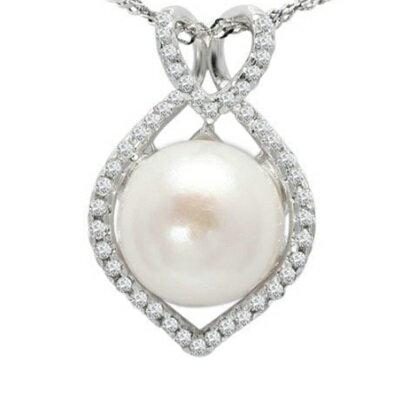 925純銀項鍊 珍珠吊墜~優雅氣質鑲鑽 情人節生日 女飾品73dh9~ ~~米蘭 ~