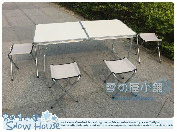 ╭☆雪之屋小舖☆╯@ @加固型 鋁合金折合桌折疊桌收納露營野餐桌椅 (一桌四椅)