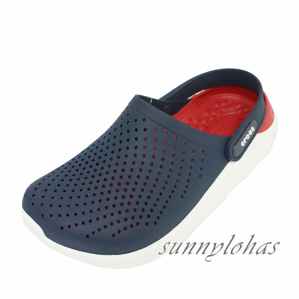 (BY)CROCS卡駱馳 (男女) LiteRide布希鞋 懶人鞋 拖鞋 雨鞋 涼鞋 柔軟 防菌抗臭 204592-4CC 藍紅 [陽光樂活]