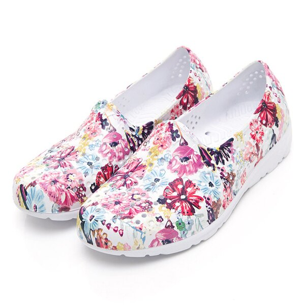 《2019新款》Shoestw【92U1SA07PK】PONY TROPIC 水鞋 軟Q 防水 懶人鞋 洞洞鞋 五彩花卉白 女生 0