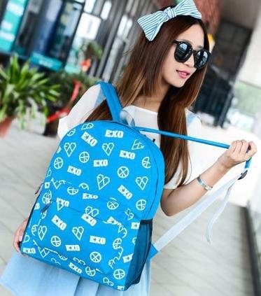 【EXO塗鴉後背包】 韓版流行後背包 學院風旅行包 書包  時尚玩包