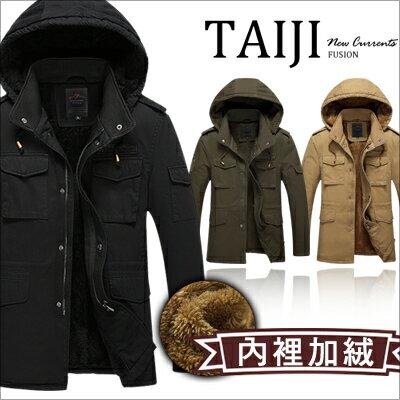 潮流外套【NTJBW8937】日韓風格‧造型臂章多口袋內裡加絨連帽大衣‧三色‧加大尺碼‧保暖/騎士