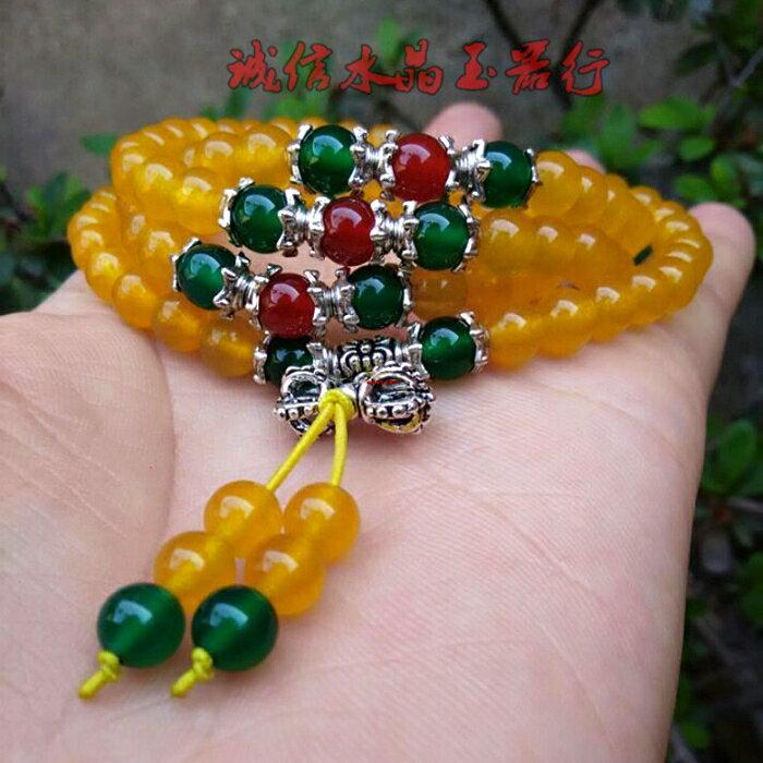 天然黃玉髓佛珠手鏈多層水晶108顆項鏈辟邪轉運綠 紅瑪瑙手鏈1入
