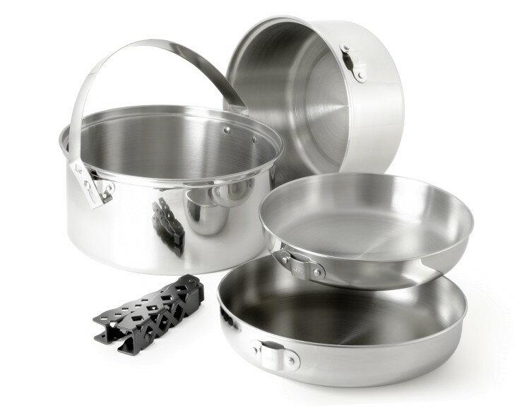 【【蘋果戶外】】GSI 68207 美國 Glacier Stainless Cookset 輕量食品級不鏽鋼套鍋組(L).含平底鍋.湯鍋.煎鍋 安全可靠.輕便易攜