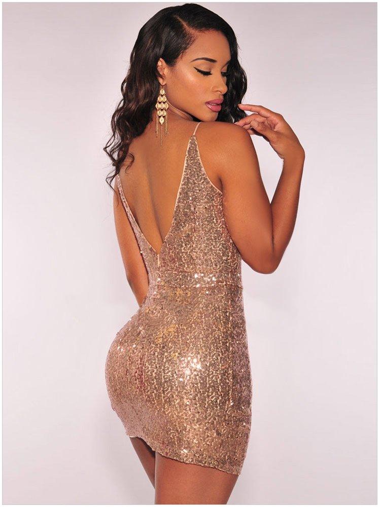 歐美新款時尚夜店禮服無袖深V低胸亮片不規則裙擺性感露背包臀連身裙洋裝 22626