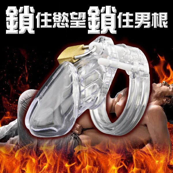 男用貞操帶貞操鎖雞籠.組裝型陽具貞操鎖6000S-透明【情趣饗宴】
