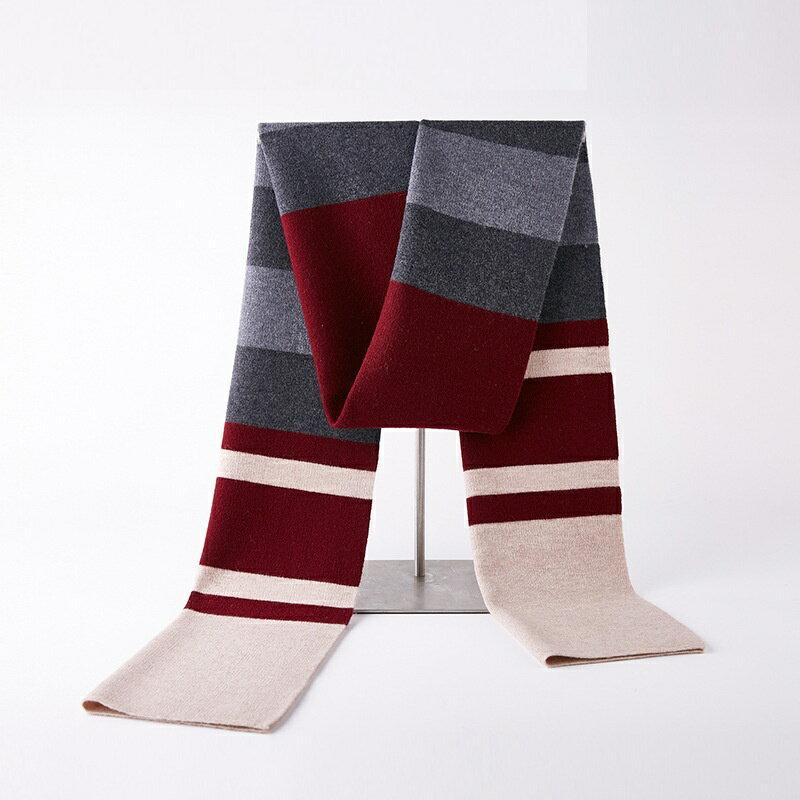 圍巾羊毛披肩-條紋拼色針織提花男配件2色73wh45【獨家進口】【米蘭精品】