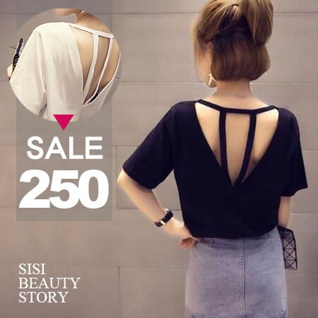 SISI【T6037】小露性感圓領鏤空露背設計百搭寬鬆顯瘦前短後長短袖T恤上衣