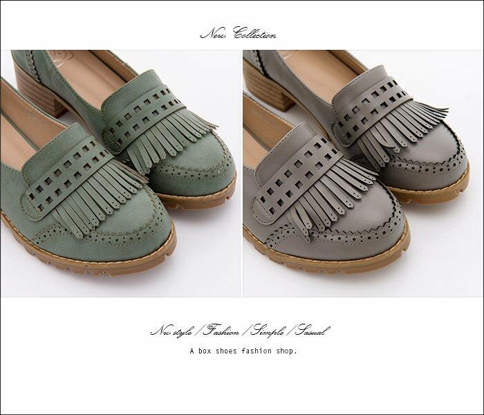 【KF339-6】韓國製造 質感透氣真皮流蘇 舒適4.5CM粗中跟牛津鞋 樂福鞋 紳士鞋 2色 1