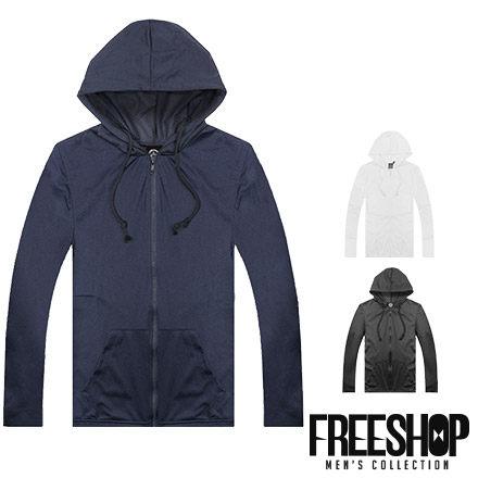 《Free Shop》Free Shop【QSPG0127】日韓風格網眼透視洞洞布素面休閒抽繩連帽薄外套 三色 MIT台灣製