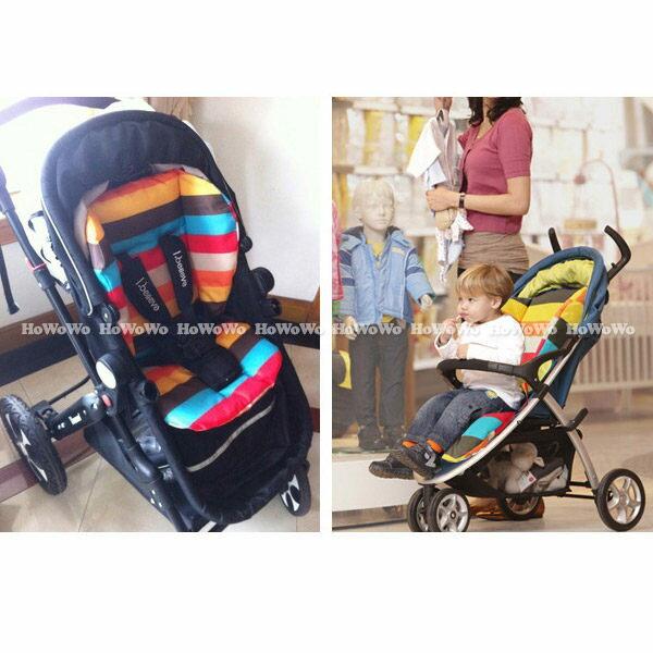 坐墊 加厚防水雙面彩虹座墊 嬰兒手推車棉墊 餐椅墊 JB0552 好娃娃