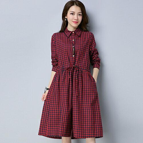 黑白條紋襯衫棉麻連身裙(3色M~2XL)*ORead* 1