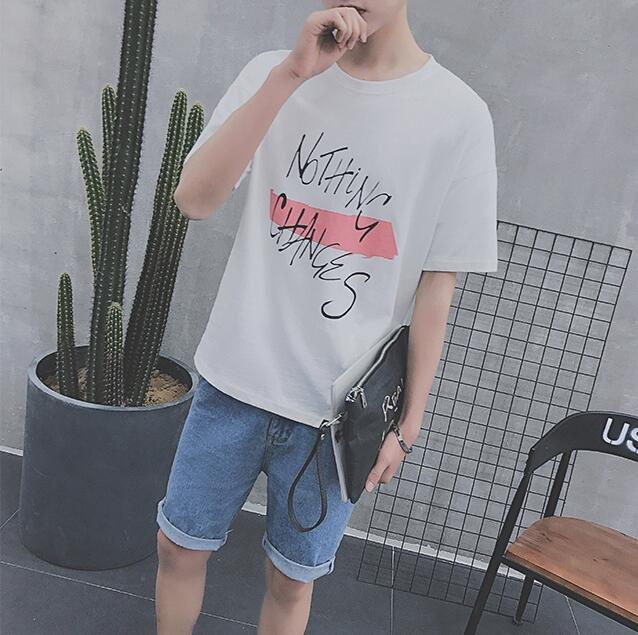 FINDSENSE 時尚潮流 男 百搭 字母印花 寬鬆 短袖T恤 圓領上衣短T LogoT恤
