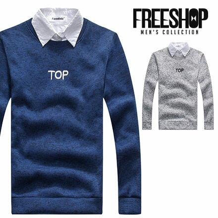 Free Shop~QSPN3841~日韓簡約TOP電繡字母混色保暖舒適圓領長袖針織衫毛衣