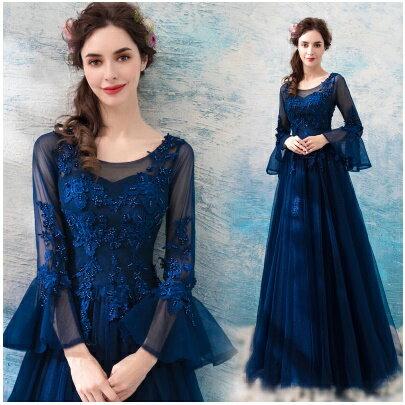 天使嫁衣:天使嫁衣【AE9122】深藍色歐風中袖蕾絲釘珠收腰晚禮服˙預購訂製款