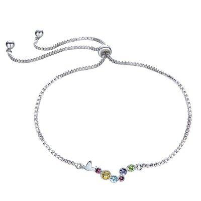 925純銀手鍊水晶手環-繽紛多彩圓形連結聖誕節情人節生日禮物女飾品73qh68【獨家進口】【米蘭精品】