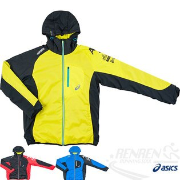 ASICS亞瑟士A77鋪棉外套(黃黑)防風潑水輕量保溫