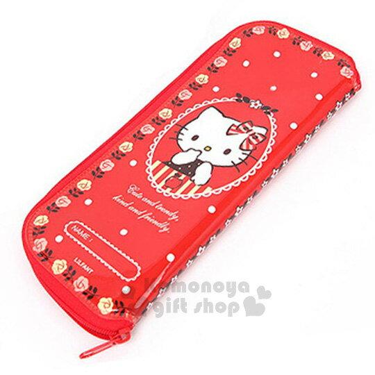〔小禮堂韓國館〕HelloKitty全開式拉鍊餐具袋《紅.蘋果.玫瑰邊框》環保方便攜帶