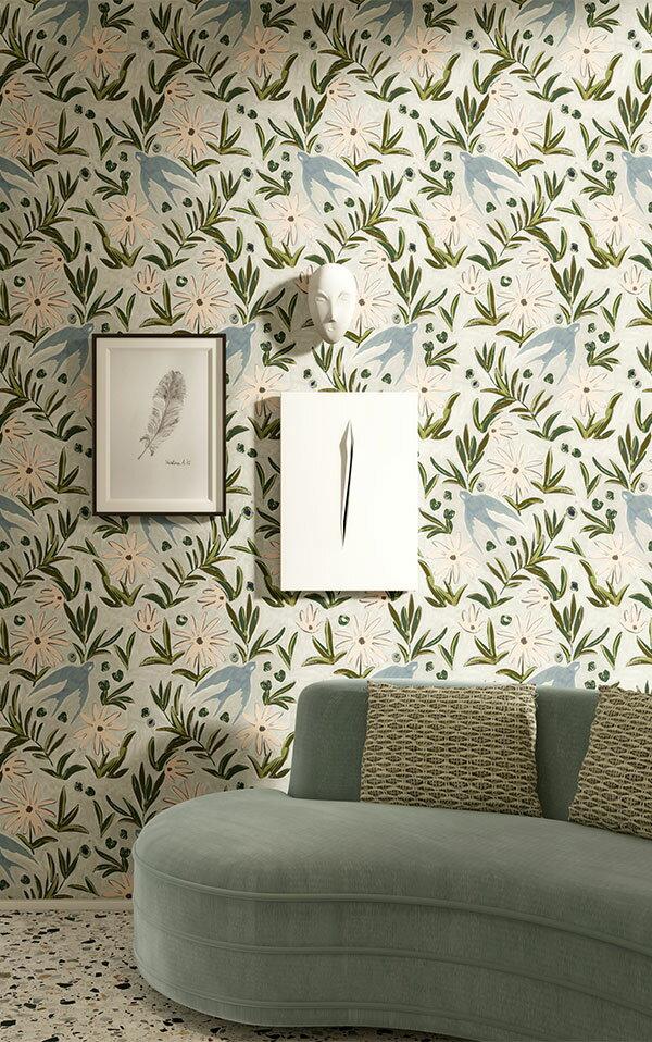 法國壁紙 燕子圖案  2色可選  Season Paper 壁紙 4