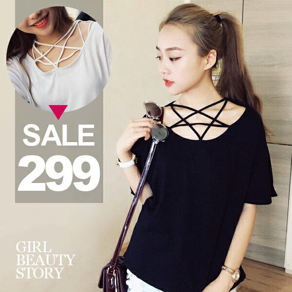 SISI~T6069~性感鏤空交叉五角星形 領口短袖純色寬鬆顯瘦T恤棉質上衣