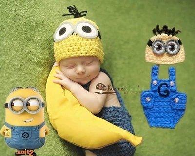 =優生活=新生兒可愛服飾 神偷奶爸小小兵 小黃人造型 寶寶攝影服裝服飾 寶寶滿月百天拍照服 寶寶滿月禮