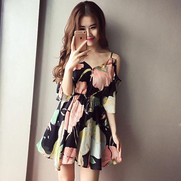 PS Mall 小清新吊帶裙印花V領雪紡沙灘裙子連身裙 短裙~T200~