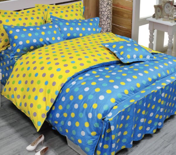華閣床墊寢具:*華閣床墊寢具*《點點世界-藍》單人薄被套台灣精製MIT