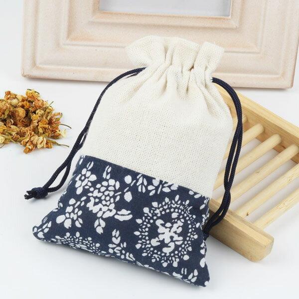 【aifelife】日式束口袋(小)深藍色花邊麻布束口袋方形麻布套高級絨布套麻布袋飾品袋手機袋眼鏡袋收納袋絨布袋花邊圖騰贈品禮品