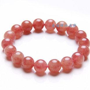 草莓晶手鏈 薔薇晶 草莓石 水晶手鏈女款