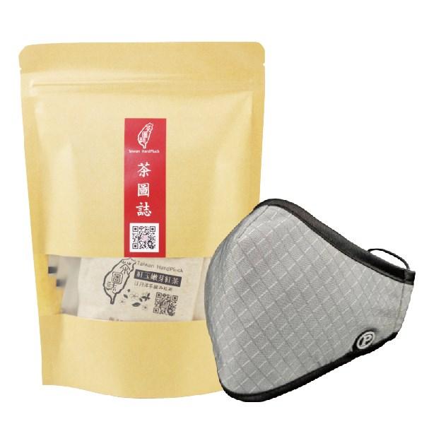 PYX 品業興 P輕薄型口罩- 灰格紋+茶圖誌茶包組