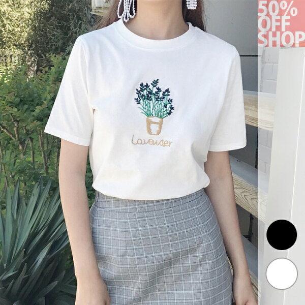 50%OFFSHOP韓版百搭chic日植物刺繡純色T(2色)【G035491C】