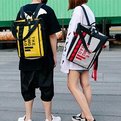 美式休閒拚色大字母方型雙肩後背包手提包(4色) X RUNWAY FASHION ICON